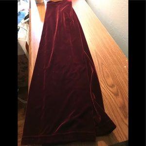 Harlow Velvet Maroon Maxi Skirt